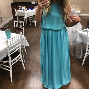 Aqua chiffon floor length gown